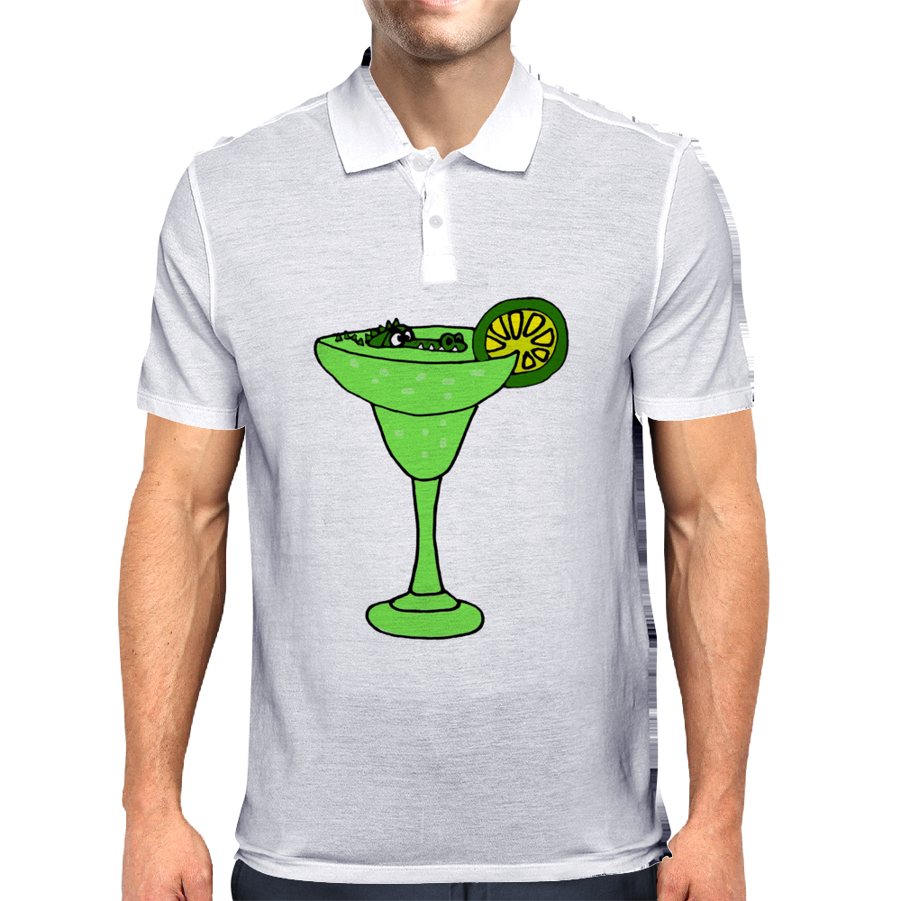 Cool Funky Alligator Swimming in Glass with Margarita Mens Polo