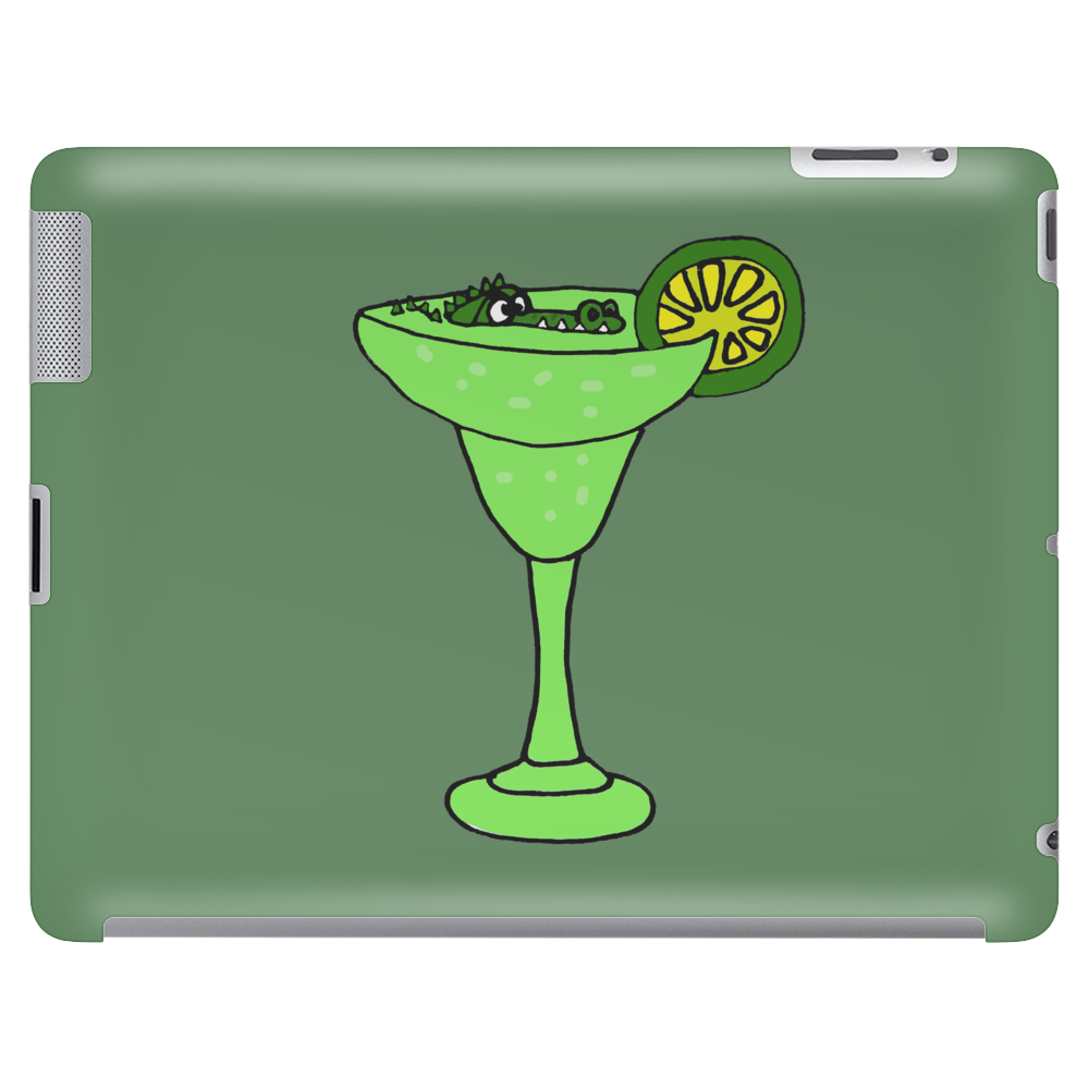 Cool Funky Alligator Swimming in Glass with Margarita Tablet (horizontal)