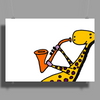 Cool Jazzy Funny Giraffe Playing Saxophone Poster Print (Landscape)