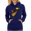 Cool Jazzy Funny Giraffe Playing Saxophone Womens Hoodie