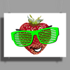 cool strawberry with bright green sunglasses Poster Print (Landscape)