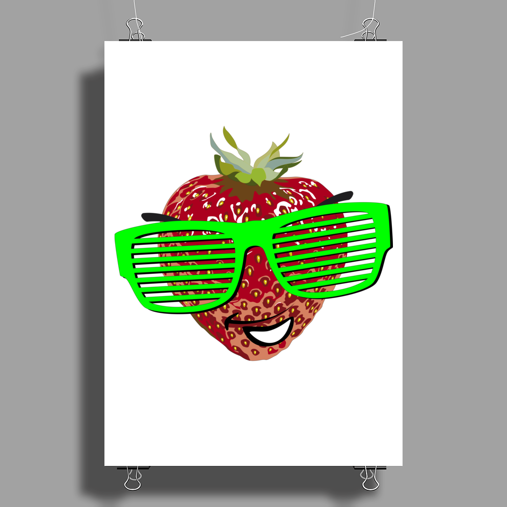cool strawberry with bright green sunglasses Poster Print (Portrait)
