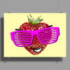 cool strawberry with pink sunglasses Poster Print (Landscape)