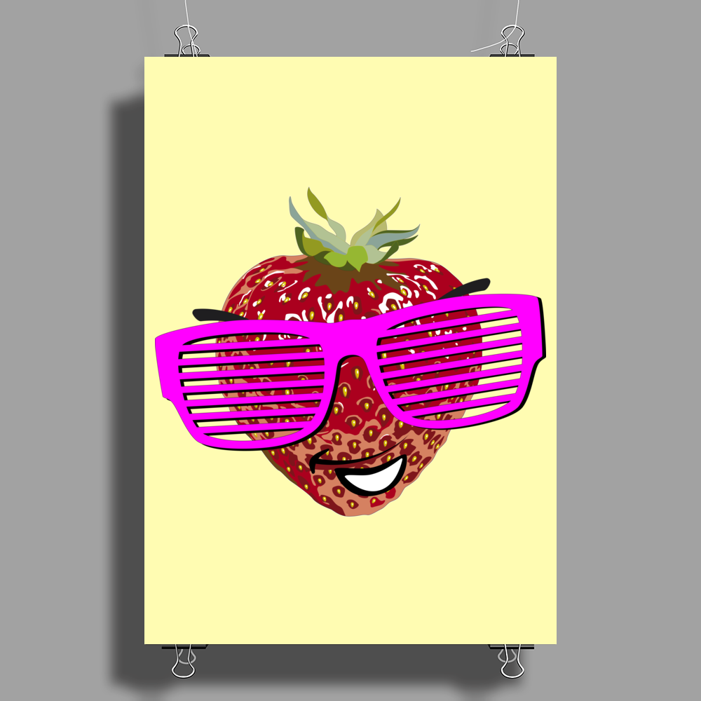 cool strawberry with pink sunglasses Poster Print (Portrait)