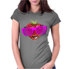 cool strawberry with pink sunglasses Womens Fitted T-Shirt