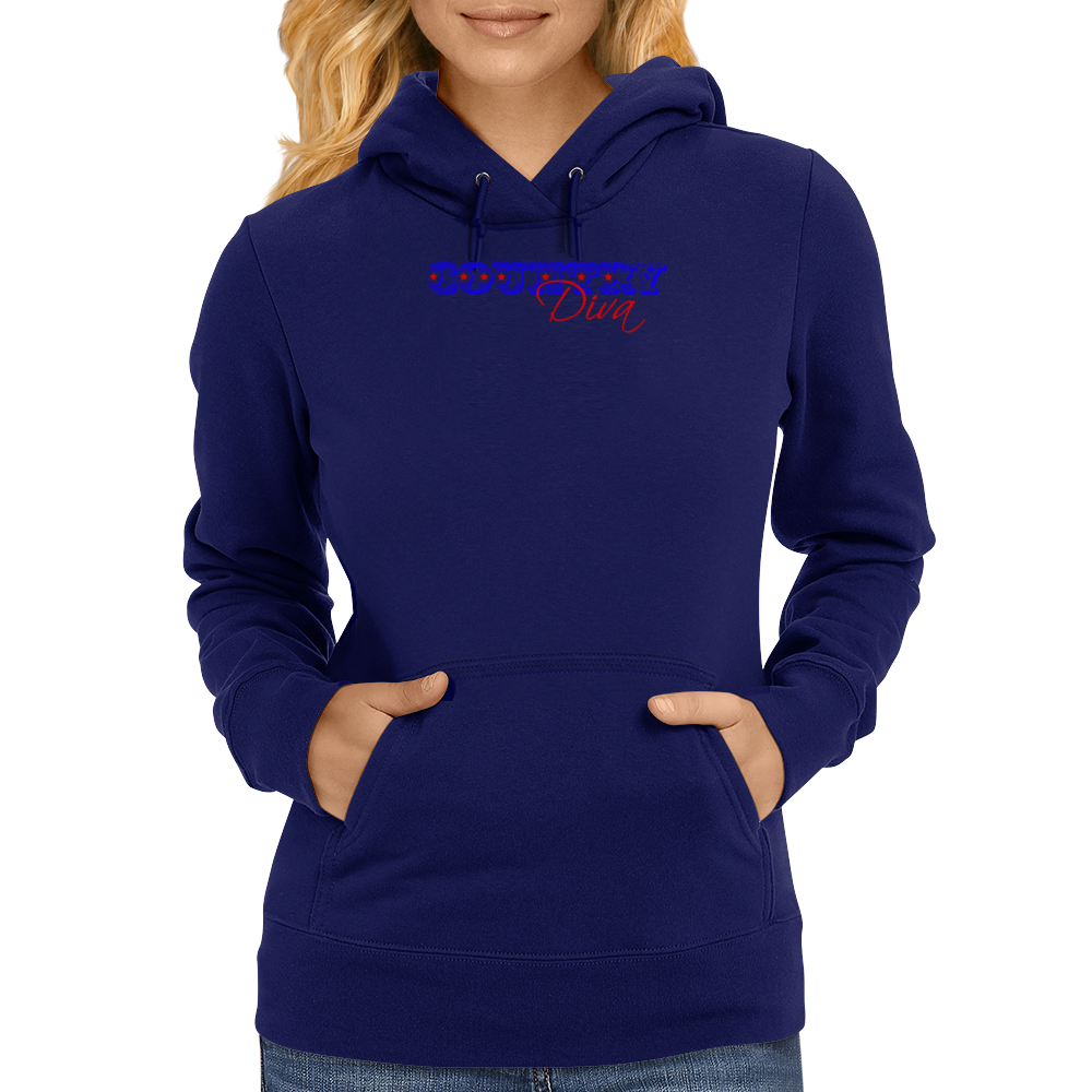 Country Diva - Red & Blue Womens Hoodie