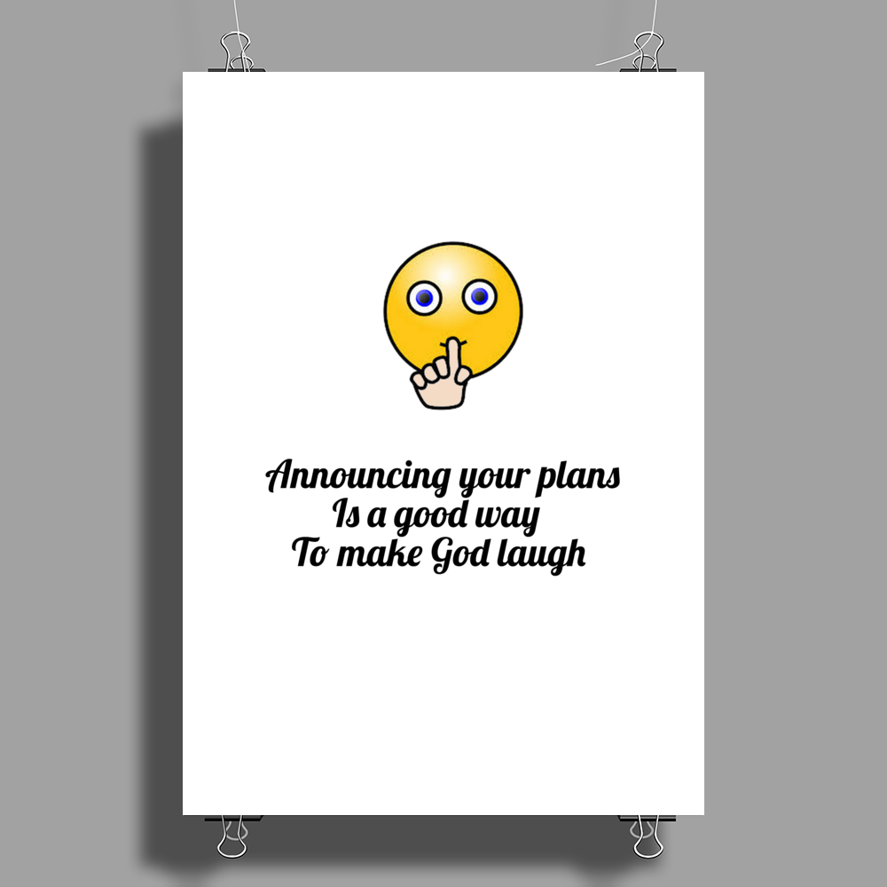 crazy funny humour satire make God laugh Poster Print (Portrait)