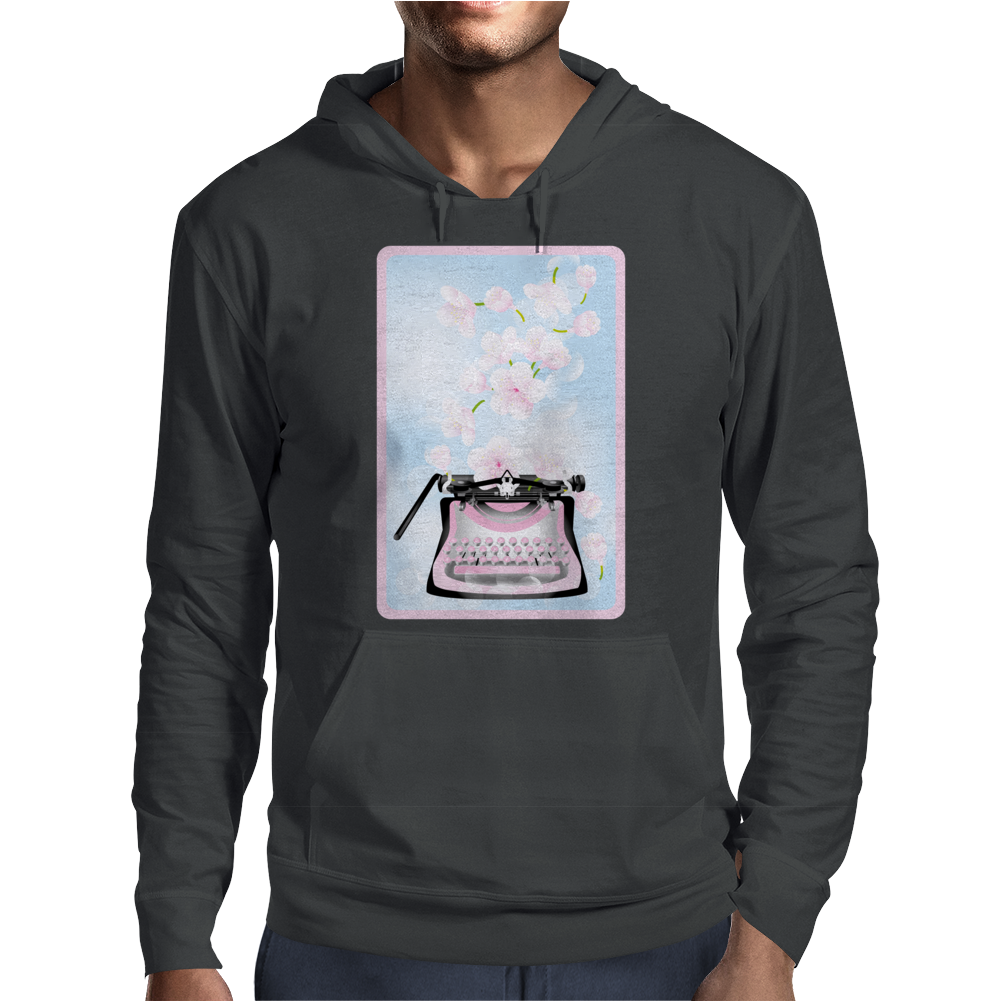 Creative Typewriter with spring cherry blossoms Mens Hoodie