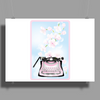 Creative Typewriter with spring cherry blossoms Poster Print (Landscape)