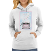 Creative Typewriter with spring cherry blossoms Womens Hoodie