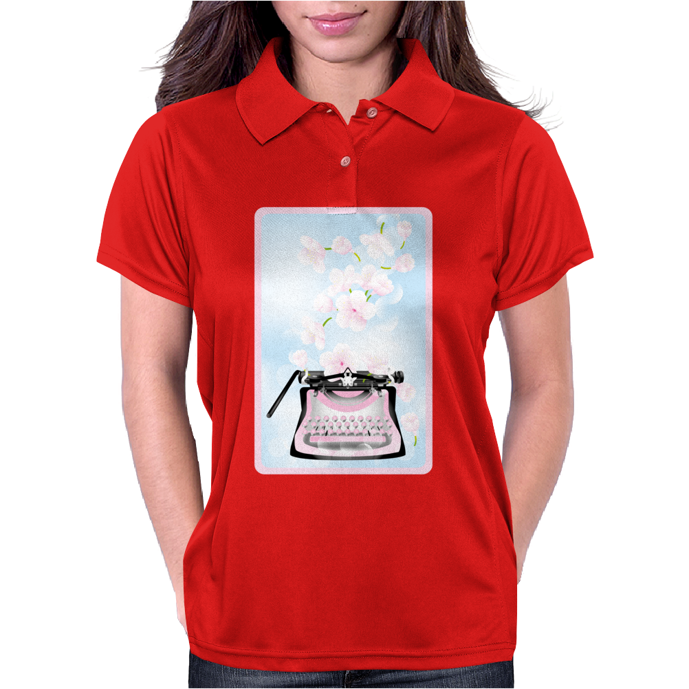 Creative Typewriter with spring cherry blossoms Womens Polo