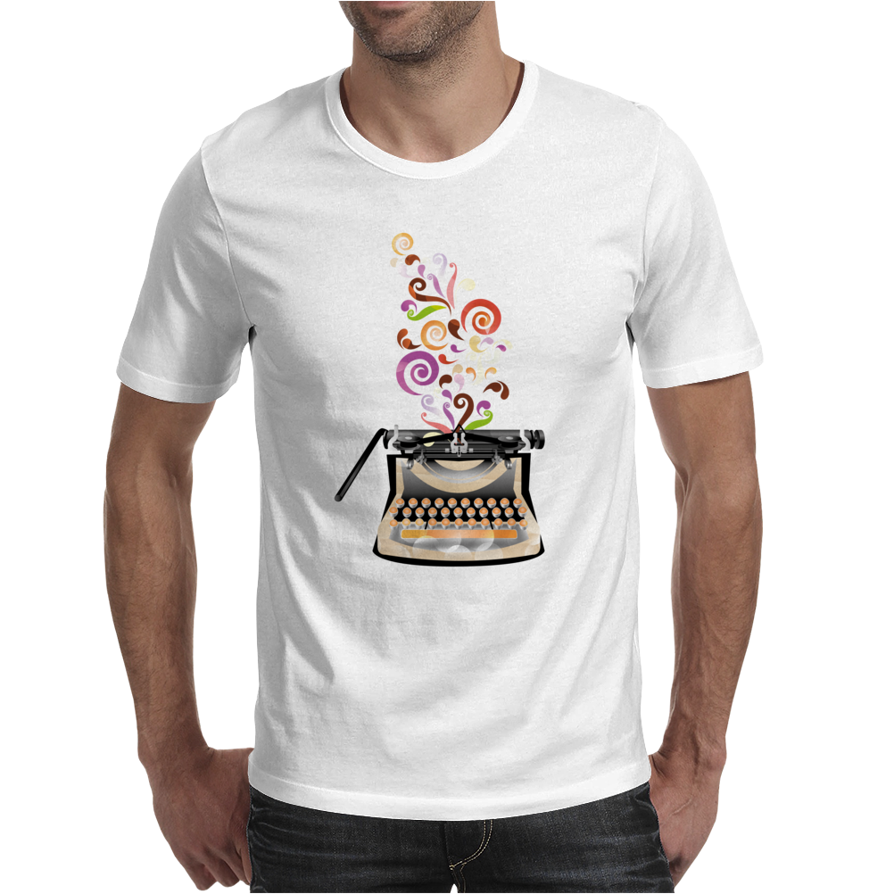 Creativity by retro typewriter Mens T-Shirt