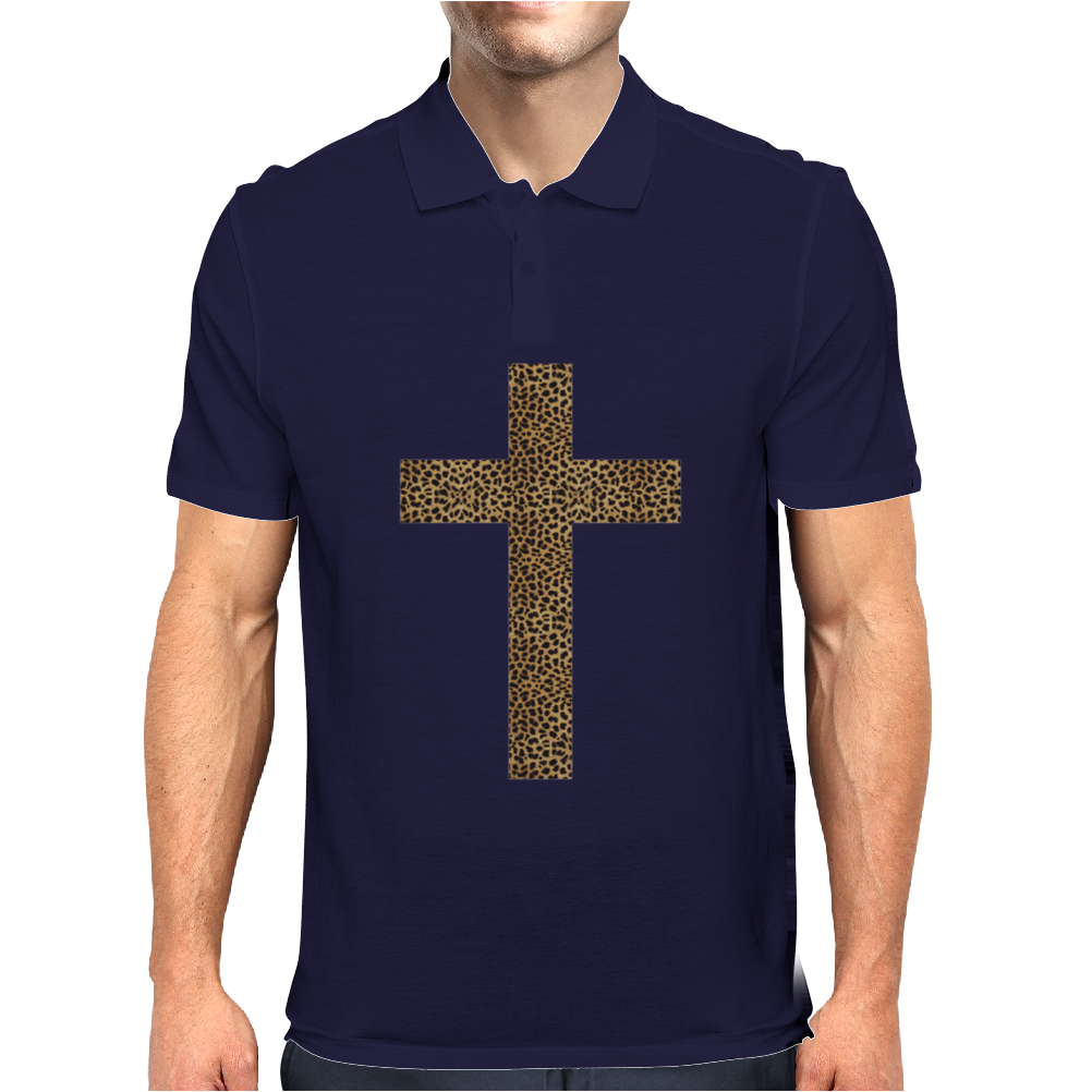Cross Printed Leopard Mens Polo