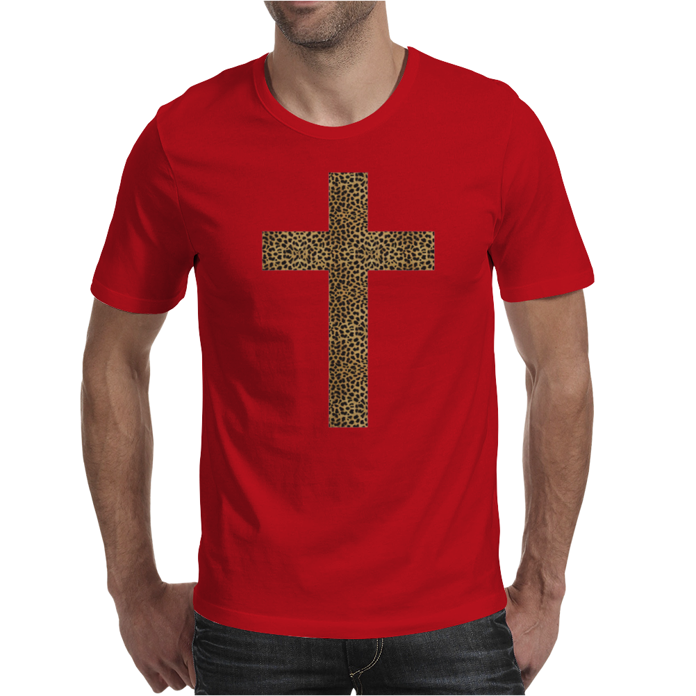 Cross Printed Leopard Mens T-Shirt