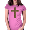 Cross Printed Leopard Womens Fitted T-Shirt