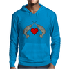 Crossed Horns Narwhal and a Red Heart Mens Hoodie