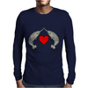Crossed Horns Narwhal and a Red Heart Mens Long Sleeve T-Shirt