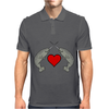 Crossed Horns Narwhal and a Red Heart Mens Polo
