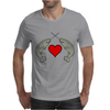Crossed Horns Narwhal and a Red Heart Mens T-Shirt