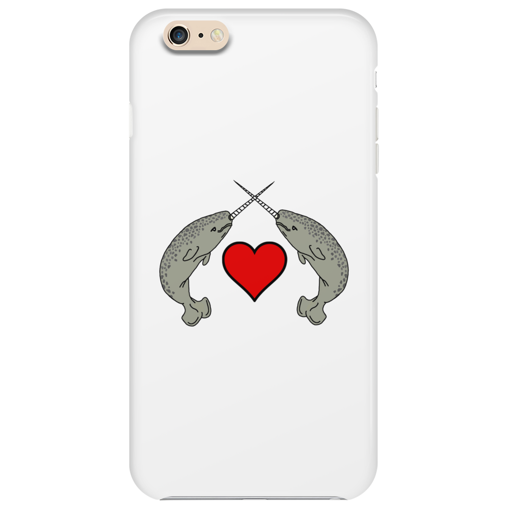 Crossed Horns Narwhal and a Red Heart Phone Case