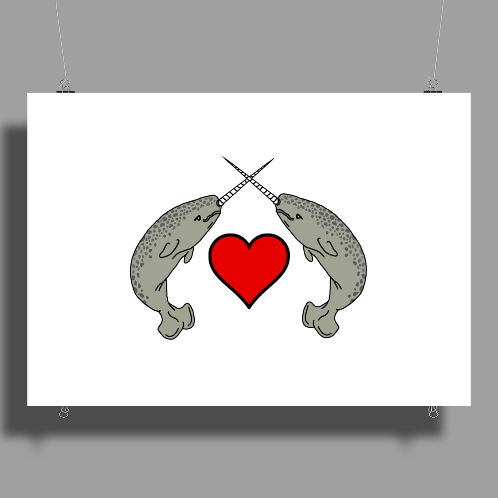 Crossed Horns Narwhal and a Red Heart Poster Print (Landscape)