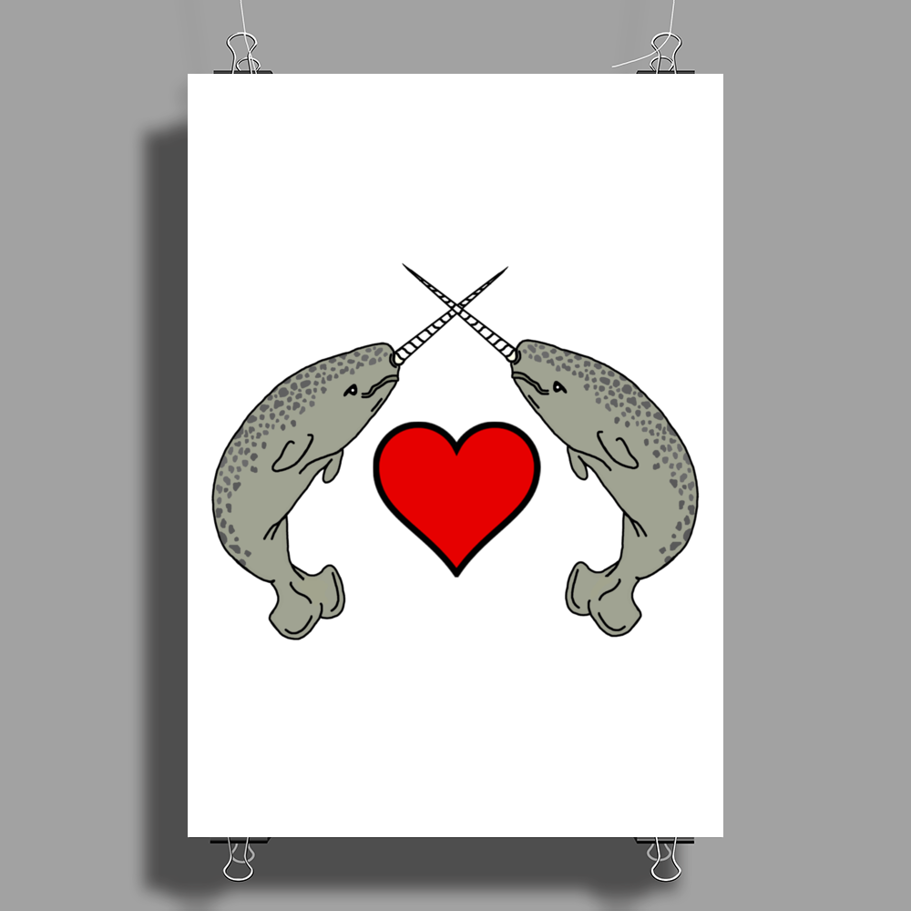 Crossed Horns Narwhal and a Red Heart Poster Print (Portrait)
