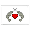 Crossed Horns Narwhal and a Red Heart Tablet