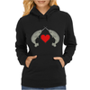 Crossed Horns Narwhal and a Red Heart Womens Hoodie