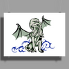 Cthulhu in classical superhero pose Poster Print (Landscape)