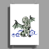 Cthulhu in classical superhero pose Poster Print (Portrait)