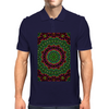Curly Green and Pink Rainbow Kaleidoscope Mens Polo