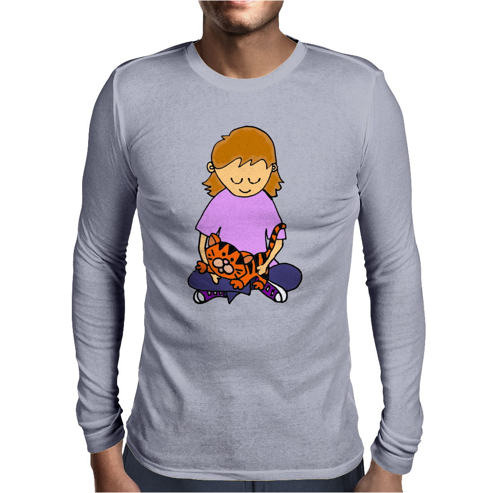 Cute Awesome Little Girl Holding Her Orange Tiger Cat Kitten Mens Long Sleeve T-Shirt