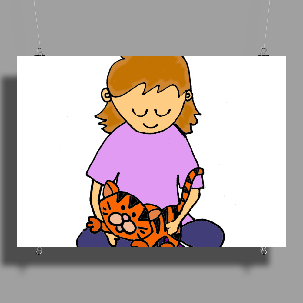 Cute Awesome Little Girl Holding Her Orange Tiger Cat Kitten Poster Print (Landscape)
