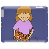 Cute Awesome Little Girl Holding Her Orange Tiger Cat Kitten Tablet