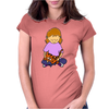 Cute Awesome Little Girl Holding Her Orange Tiger Cat Kitten Womens Fitted T-Shirt