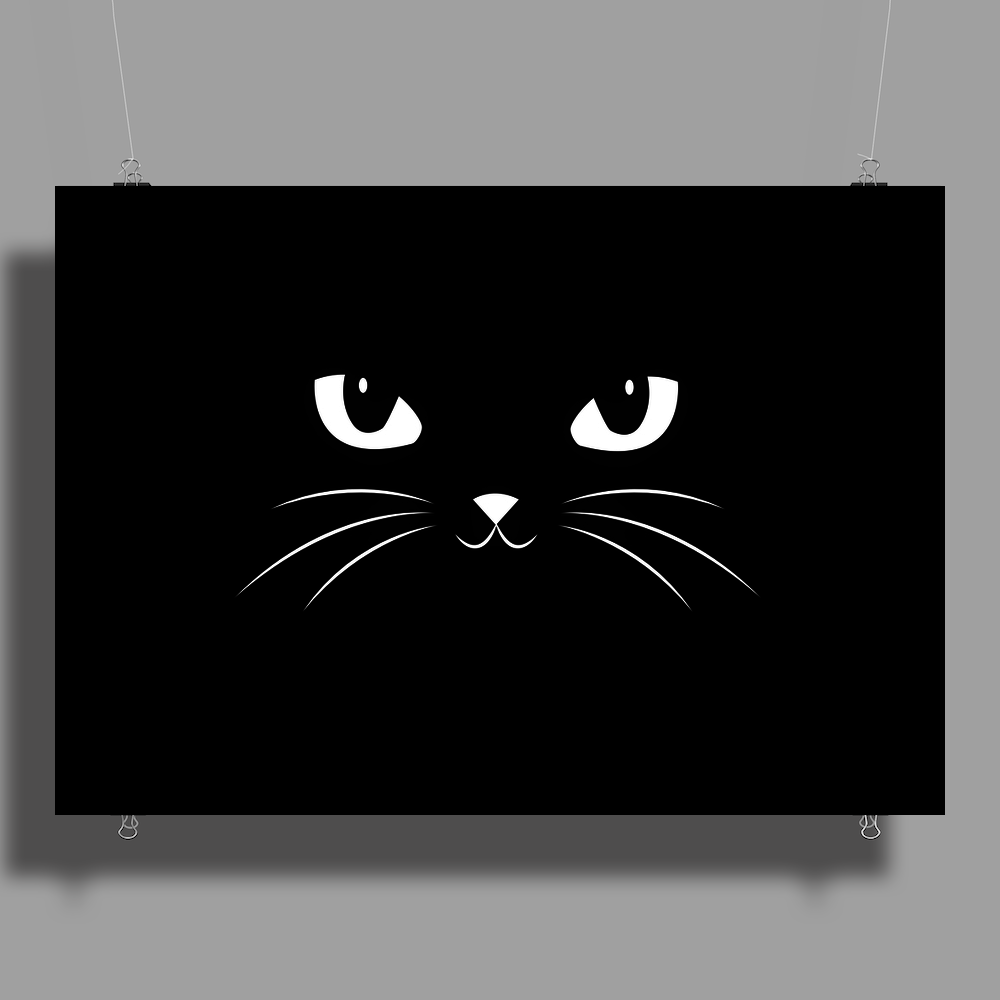 Cute Black Cat Poster Print (Landscape)