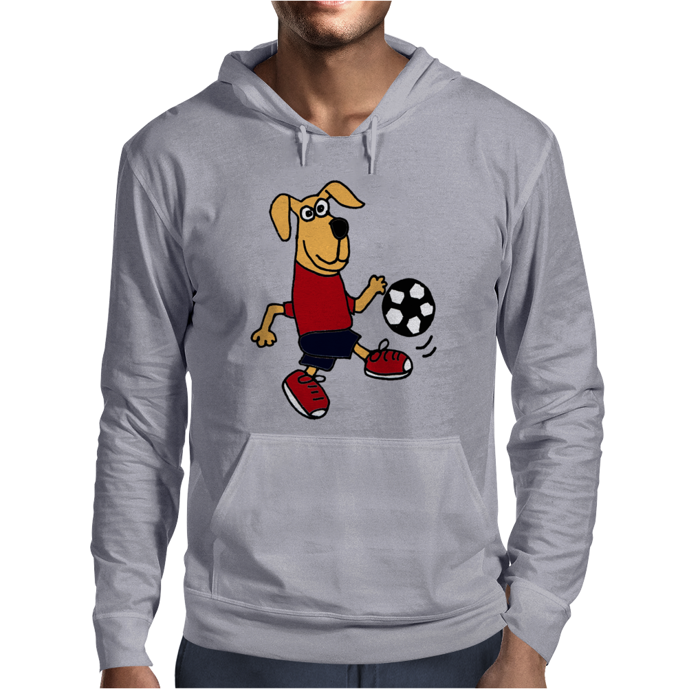 Cute Funny Brown Puppy Dog Playing Soccer Mens Hoodie