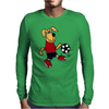 Cute Funny Brown Puppy Dog Playing Soccer Mens Long Sleeve T-Shirt