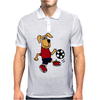 Cute Funny Brown Puppy Dog Playing Soccer Mens Polo