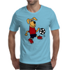 Cute Funny Brown Puppy Dog Playing Soccer Mens T-Shirt