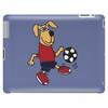 Cute Funny Brown Puppy Dog Playing Soccer Tablet