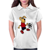 Cute Funny Brown Puppy Dog Playing Soccer Womens Polo