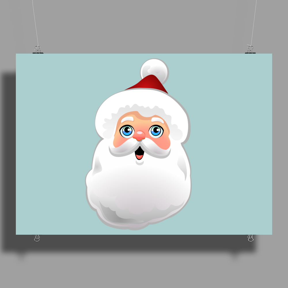 Cute Santa Claus Cartoon Poster Print (Landscape)