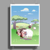 Cute sheep on summer medow Poster Print (Portrait)