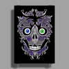 """Daddy Skully"" design by EBC. Purple Skull, modern design, bold look. Poster Print (Portrait)"