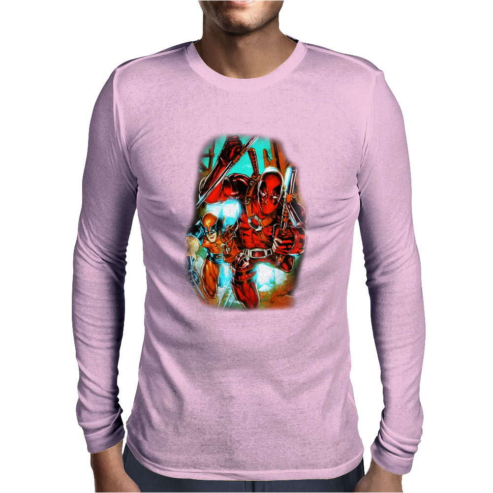 Deadpool and Wolverine X-Men Marvel Comics Mens Long Sleeve T-Shirt