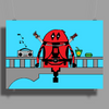 Deadpool on Bridge Poster Print (Landscape)