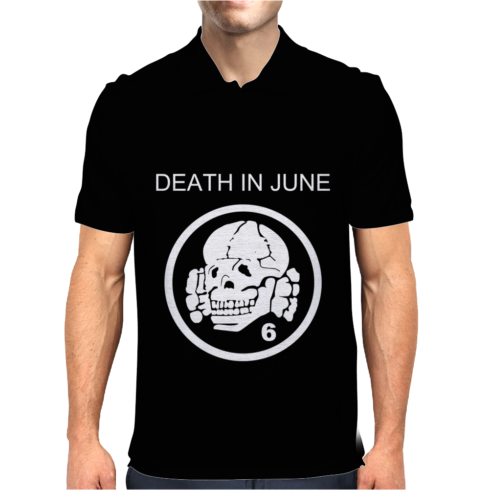 Death In June Skull Black Punk Rock Mens Polo