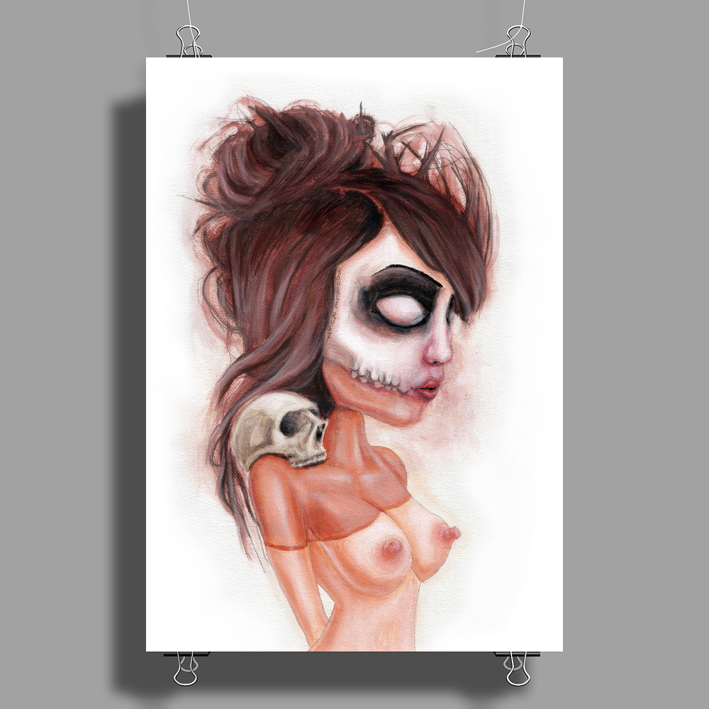 Deathlike Skull Impression by Rouble Rust Poster Print (Portrait)