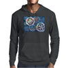Decorative snowflakes, resembling gears, colorful with deep blue background Mens Hoodie
